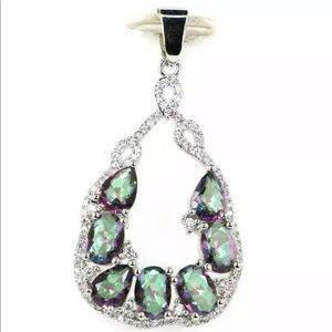Mystic Topaz and CZ Pendant 925 New